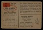 1954 Bowman #92  Don Heinrich  Back Thumbnail