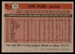 1981 Topps #71  Hal Dues  Back Thumbnail