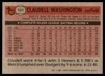 1981 Topps #151  Claudell Washington  Back Thumbnail