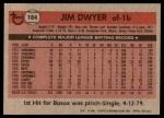 1981 Topps #184  Jim Dwyer  Back Thumbnail