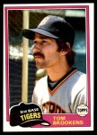 1981 Topps #251  Tom Brookens  Front Thumbnail
