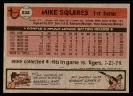 1981 Topps #292  Mike Squires  Back Thumbnail