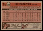 1981 Topps #342  Eric Rasmussen  Back Thumbnail