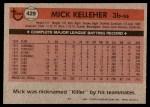 1981 Topps #429  Mick Kelleher  Back Thumbnail