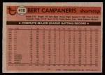 1981 Topps #410  Bert Campaneris  Back Thumbnail