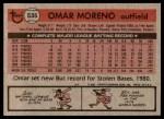 1981 Topps #535  Omar Moreno  Back Thumbnail
