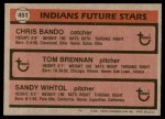 1981 Topps #451   -  Sandy Wihtol  /  Chris Bando  /  Tom Brennan Indians Back Thumbnail