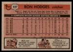 1981 Topps #537  Ron Hodges  Back Thumbnail