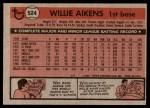 1981 Topps #524  Willie Aikens  Back Thumbnail