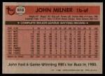 1981 Topps #618  John Milner  Back Thumbnail