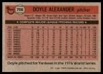 1981 Topps #708  Doyle Alexander  Back Thumbnail