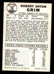 1960 Leaf #10  Bob Grim  Back Thumbnail