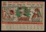 1956 Topps #294  Ernie Johnson  Back Thumbnail