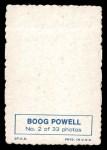 1969 Topps Deckle Edge #2  Boog Powell    Back Thumbnail