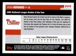 2006 Topps #265   -  Ryan Howard NL Rookie of the Year Back Thumbnail