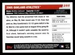 2006 Topps #285   Oakland Athletics Team Back Thumbnail