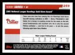 2006 Topps #259   -  Bobby Abreu Golden Glove Award Back Thumbnail