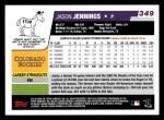 2006 Topps #349  Jason Jennings  Back Thumbnail