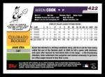 2006 Topps #422  Aaron Cook  Back Thumbnail