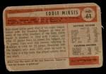 1954 Bowman #61 ALL Eddie Miksis  Back Thumbnail