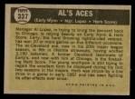 1961 Topps #337   -  Al Lopez / Herb Score / Early Wynn Al's Aces Back Thumbnail