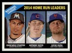 2015 Topps Heritage #217   -  Lucas Duda / Anthony Rizzo / Giancarlo Stanton NL HR Leaders Front Thumbnail