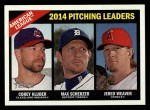 2015 Topps Heritage #224   -  Max Scherzer / Jered Weaver / Corey Kluber AL Pitching Leaders Front Thumbnail
