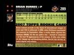 2007 Topps #289  Brian Burres  Back Thumbnail