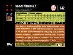 2007 Topps #642  Sean Henn  Back Thumbnail