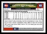 2008 Topps #63  Jason Michaels  Back Thumbnail