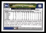 2008 Topps #44  Jonathan Broxton  Back Thumbnail