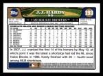 2008 Topps #193  J.J. Hardy  Back Thumbnail