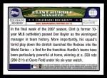 2008 Topps #218  Clint Hurdle  Back Thumbnail