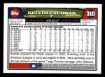 2008 Topps #310  Kelvim Escobar  Back Thumbnail