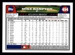 2008 Topps #454  Mike Hampton  Back Thumbnail