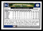2008 Topps #431  Delwyn Young  Back Thumbnail