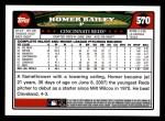 2008 Topps #570  Homer Bailey  Back Thumbnail