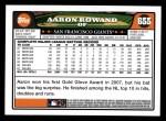 2008 Topps #655  Aaron Rowand  Back Thumbnail