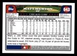 2008 Topps #643  Matt Murton  Back Thumbnail