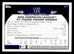2009 Topps #271  Cliff Lee  Back Thumbnail