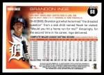 2010 Topps #68  Brandon Inge  Back Thumbnail