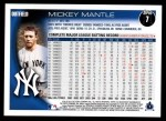 2010 Topps #7  Mickey Mantle  Back Thumbnail
