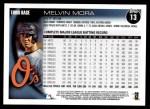2010 Topps #13  Melvin Mora  Back Thumbnail