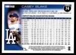 2010 Topps #74  Casey Blake  Back Thumbnail