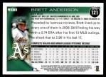 2010 Topps #121  Brett Anderson  Back Thumbnail