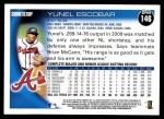 2010 Topps #146  Yunel Escobar  Back Thumbnail
