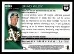 2010 Topps #168  Brad Kilby  Back Thumbnail