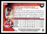 2010 Topps #109  Justin Masterson  Back Thumbnail