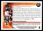 2010 Topps #227  Josh Thole  Back Thumbnail