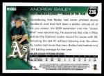 2010 Topps #236   -  Andrew Bailey 2009 AL ROY Award Back Thumbnail